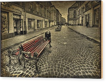 Street Seat Wood Print by Evelina Kremsdorf