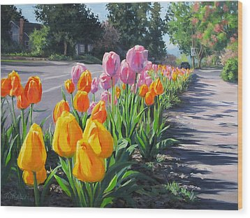 Street Tulips Wood Print
