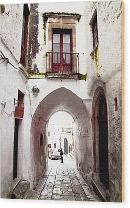 Streets Of Ostuni Wood Print