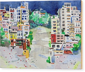 Streets Of San Francsico Wood Print by Mindy Newman