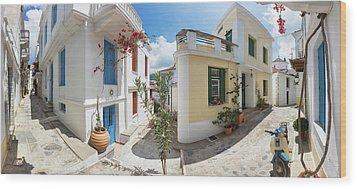 Streets Of Skopelos Wood Print by Evgeni Dinev
