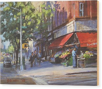 Streetscape With Red Awning - 82nd Street Market Wood Print