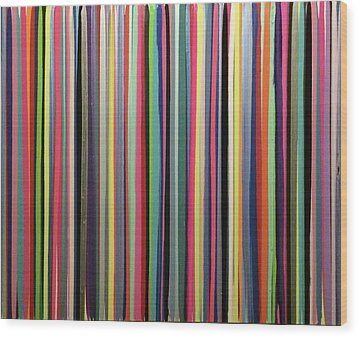 Striations Multi Wood Print by Margalit Romano