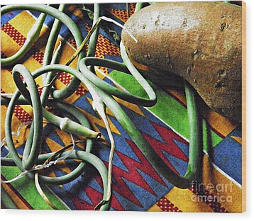 String Beans And Yam Wood Print by Sarah Loft