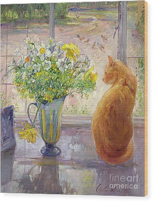Striped Jug With Spring Flowers Wood Print by Timothy Easton