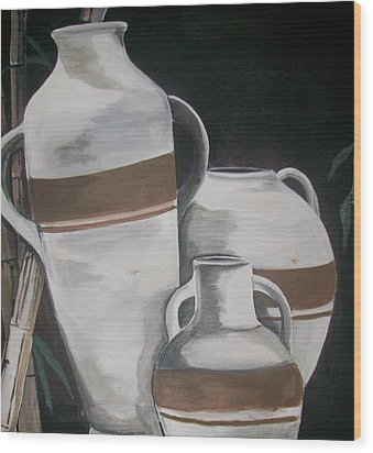 Striped Water Jars Wood Print by Trudy-Ann Johnson