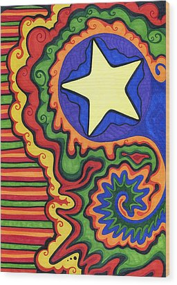 Stripes And Star Wood Print by Mandy Shupp
