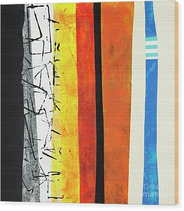Wood Print featuring the mixed media Stripes by Elena Nosyreva