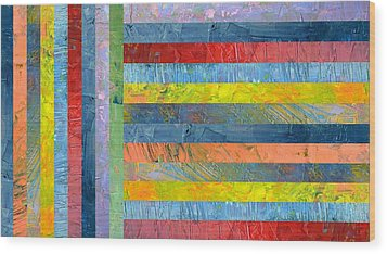 Stripes With Blue And Red Wood Print by Michelle Calkins