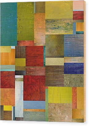 Strips And Pieces L Wood Print by Michelle Calkins