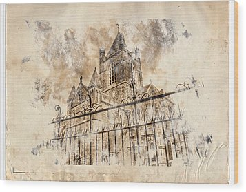 Stroked S.patrick Cathedral Wood Print by Andrea Barbieri