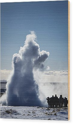 Wood Print featuring the photograph Strokkur Geyser In Iceland by Matthias Hauser