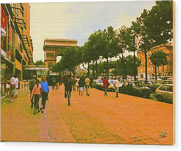 Strollers Along The Champs Elysees Wood Print