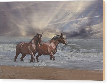 Strolling On The Beach Wood Print