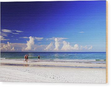 Wood Print featuring the photograph Strolling The Beach by Gary Wonning