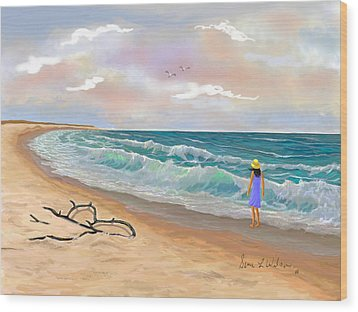 Wood Print featuring the painting Strolling The Beach by Sena Wilson