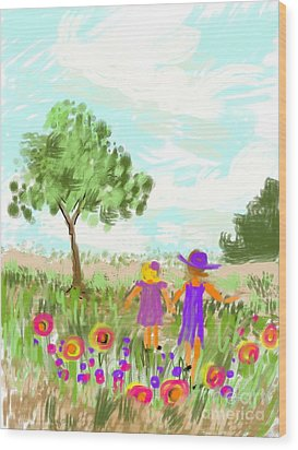 Wood Print featuring the digital art Strolling Thru The Field by Elaine Lanoue