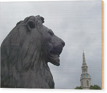 Strong Lion Wood Print by Mary Mikawoz