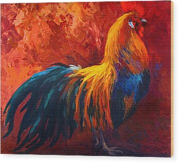 Strutting His Stuff - Rooster Wood Print by Marion Rose