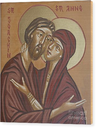 Wood Print featuring the painting Saints Joachim And Anna by Olimpia - Hinamatsuri Barbu