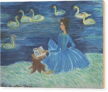 Study For Swan Lake Reader Wood Print by Sushila Burgess
