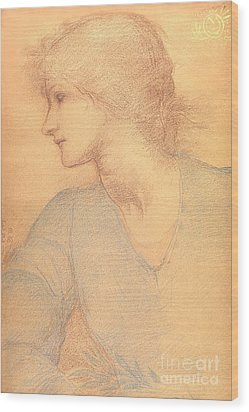 Study In Colored Chalk Wood Print by Sir Edward Burne-Jones