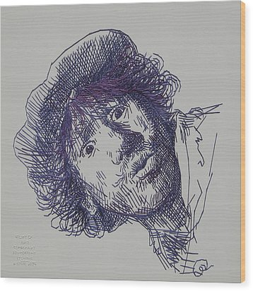 study-in-thread of 1630 Rembrandt self-portrait etching Wood Print by Barbara Lugge