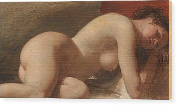 Study Of A Reclining Female Nude Wood Print by EW Wyon