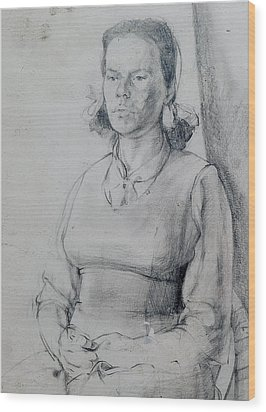 Study Of A Seated Girl. Wood Print by Harry Robertson