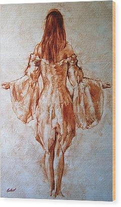 Study Of An Angel Wood Print by Stuart Gilbert