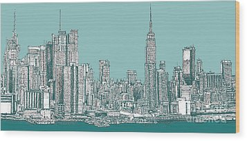 Study Of New York City In Turquoise  Wood Print by Adendorff Design