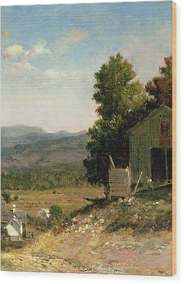 Study Of Old Barn In New Hampshire Wood Print by George Loring Brown