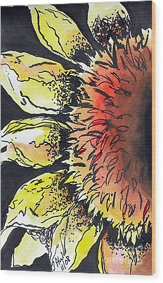 Study Of Sunflower Wood Print by Amy Williams