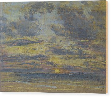 Study Of The Sky With Setting Sun Wood Print by Eugene Louis Boudin
