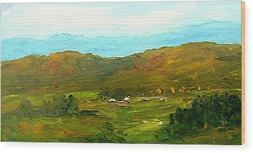 Wood Print featuring the painting Study Ranch Land by Fred Wilson