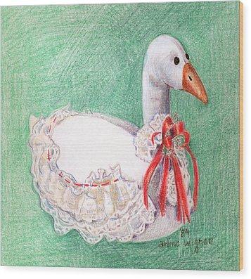 Stuffed Goose Wood Print by Arline Wagner