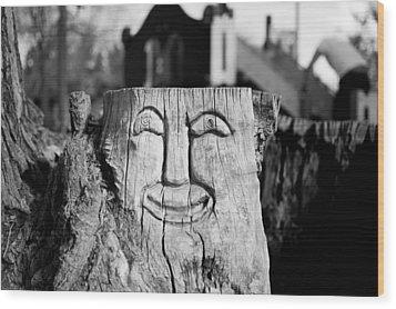 Stump Face 1 Wood Print