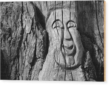 Stump Face 3 Wood Print