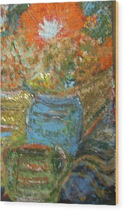 Stunning Still Life With Orange And Blue Wood Print by Anne-Elizabeth Whiteway