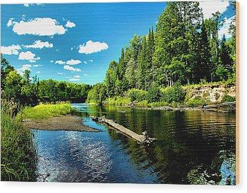 Sturgeon River In Summer Wood Print by Matthew Winn