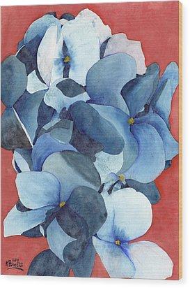Stylized Hydrangea Wood Print