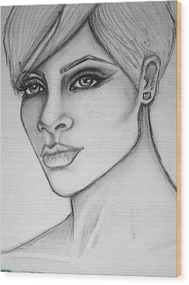 stylized portrait of Rihanna Wood Print by Dana Biviano