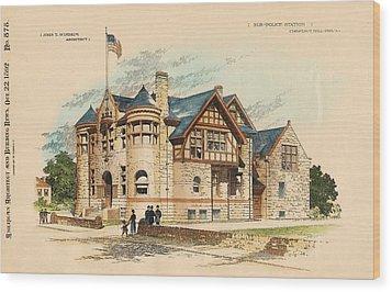 Sub Police Station. Chestnut Hill Pa. 1892 Wood Print by John Windrim