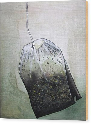 Submerged Tea Bag Wood Print