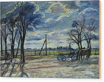 Suburban Landscape In Spring  Wood Print by Waldemar Rosler