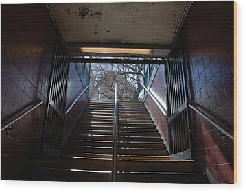 Wood Print featuring the photograph Subway Stairs To Freedom by Rob Hans
