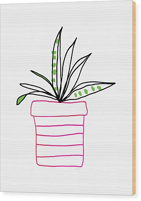 Wood Print featuring the mixed media Succulent In A Pink Pot- Art By Linda Woods by Linda Woods
