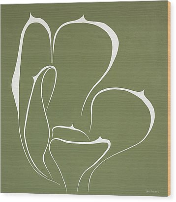 Wood Print featuring the painting Succulent In Green by Ben Gertsberg