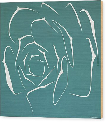 Wood Print featuring the painting Succulent In Turquoise by Ben Gertsberg