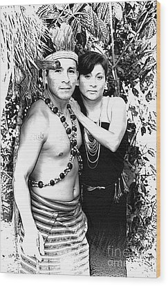 Wood Print featuring the photograph Sucua Shaman And Spouse by Al Bourassa